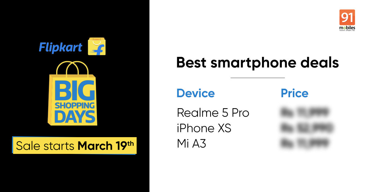 Flipkart Big Shopping Days sale begins March 19th: Realme 5 Pro, iPhone XS, Vivo U10, and more discounted