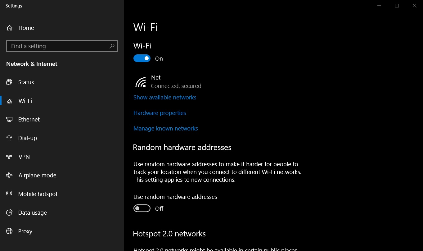 Windows 10 WiFi settings