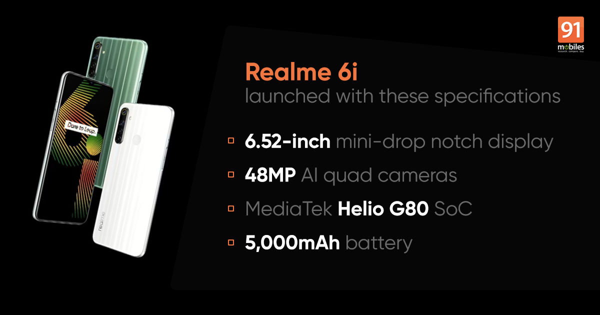 Realme 6i launched with Helio G80 SoC, 48MP quad rear cameras: price, specifications