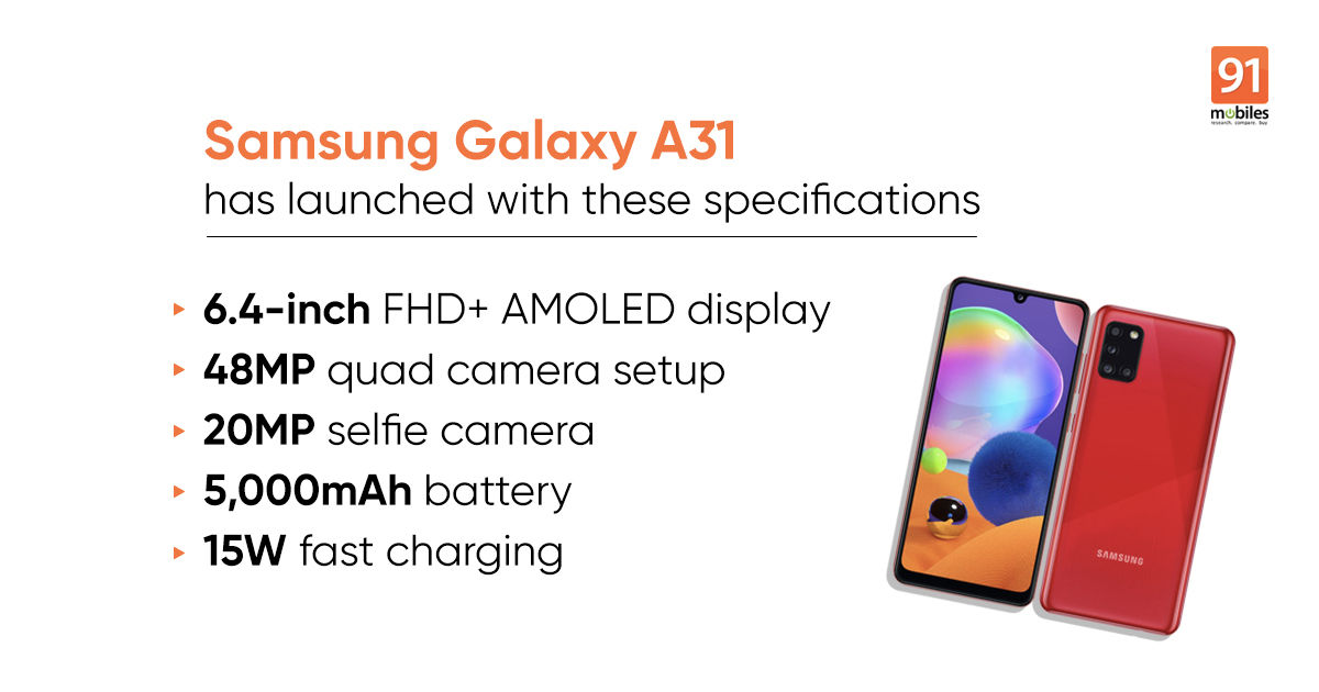 Samsung Galaxy A31 launched with AMOLED display, 48MP quad cameras: price, specifications