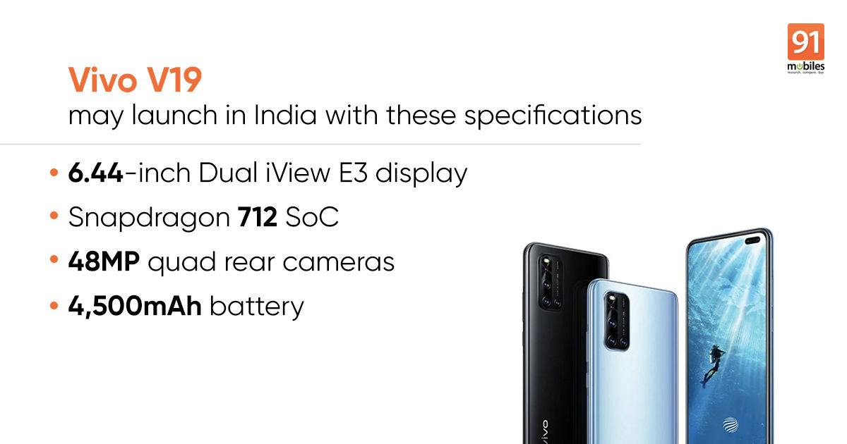 Vivo V19 India launch date set for March 26th, will sport dual selfie cameras, Snapdragon 712 SoC