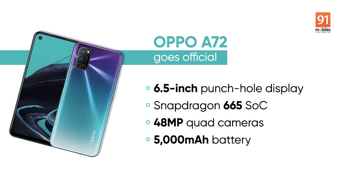 OPPO A72 with 48MP quad rear cameras announced: specifications, features, and more