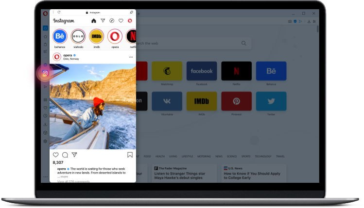 Opera dekstop browser now offers Instagram quick access