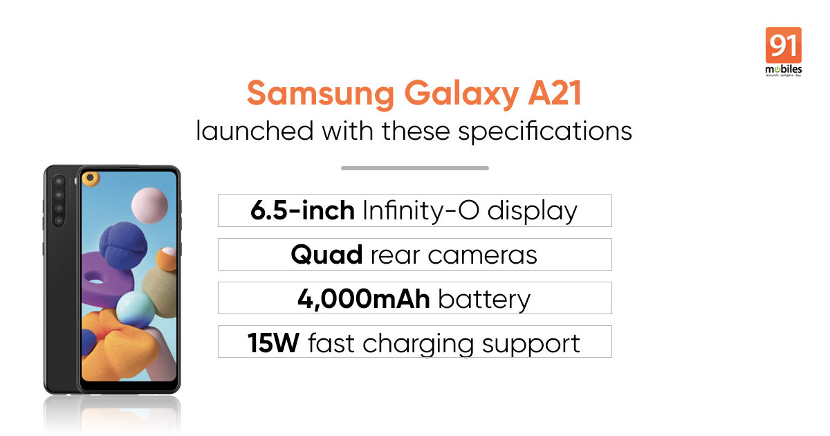 Samsung Galaxy A21 launched with quad rear cameras, Infinity-O display: price, specifications