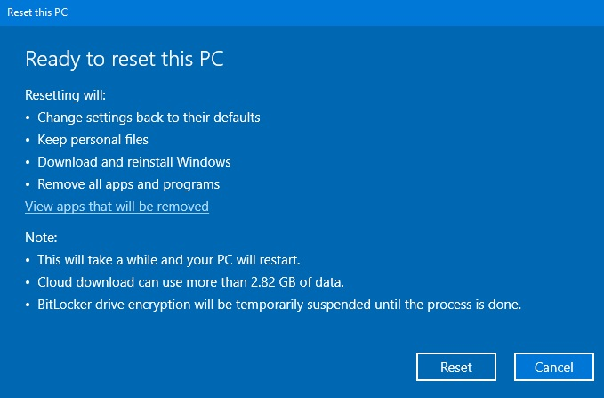 Reset this PC page
