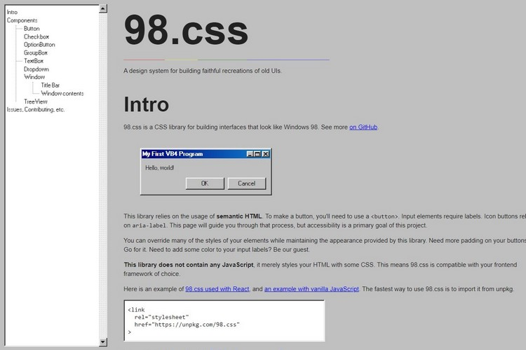 You Can Build Windows 98-Inspired UIs with the 98.css