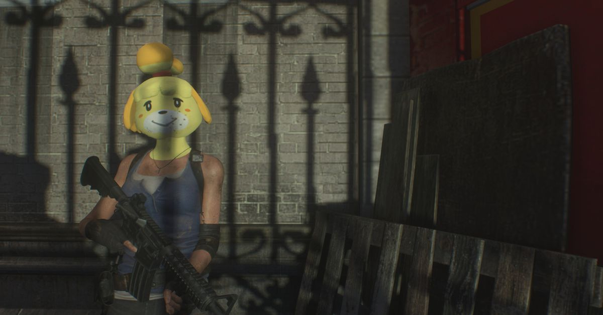 Yup, someone modded Isabelle into Resident Evil 3