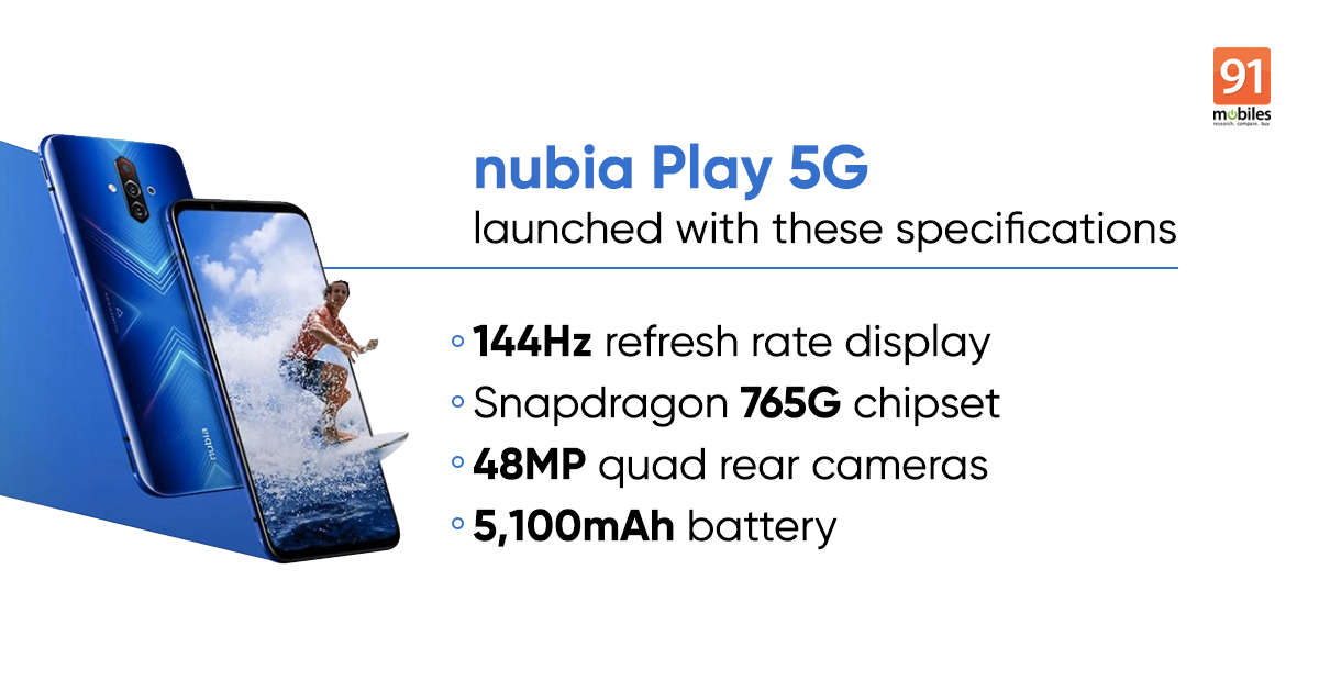 nubia Play 5G launched with 144Hz display and Snapdragon 765G SoC: price, specifications