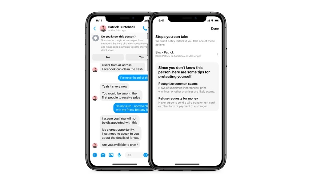 Facebook Messenger will alert users about potential scammers