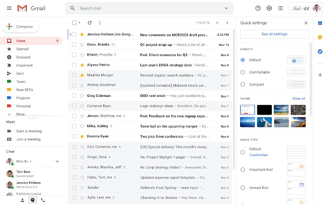 Gmail on the web gets quick settings menu to quickly find and change layout of inbox