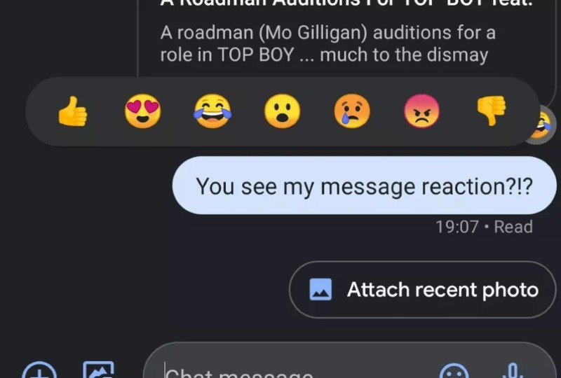 Google testing iMessage-like emoji reacts for RCS messages