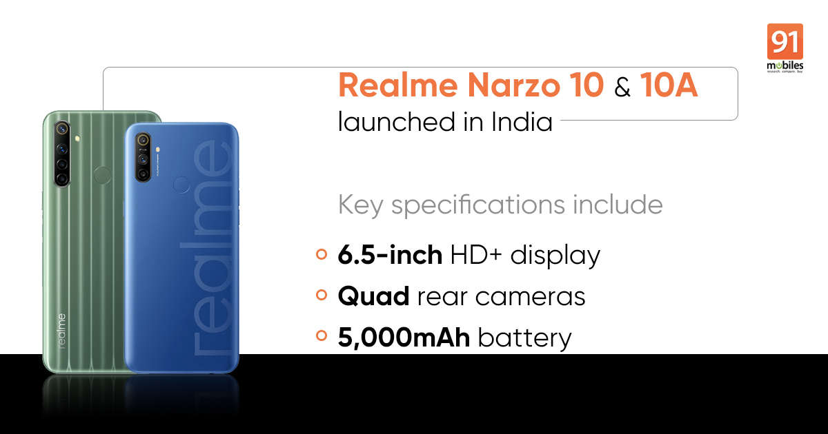Realme Narzo 10 launched with MediaTek G80 and 48MP quad rear cameras alongside Realme Narzo 10A