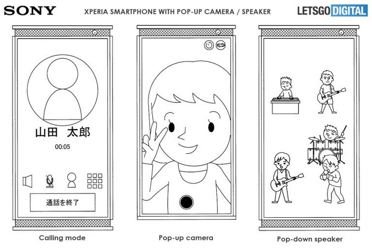 Sony Patents Xperia Phone with Pop-up Cameras and Pop-down Speakers