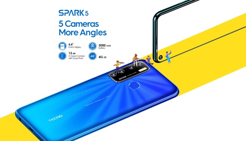 Tecno Spark 5 launched with quad cameras, 5500mAh battery, Android 10