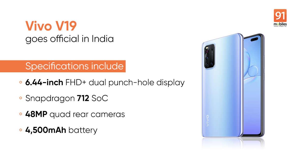Vivo V19 price in India, specifications, Flipkart, Amazon sale date, offers