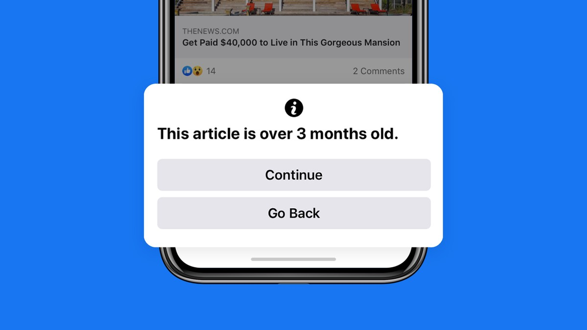 Facebook to warn users while sharing articles older than 90 days