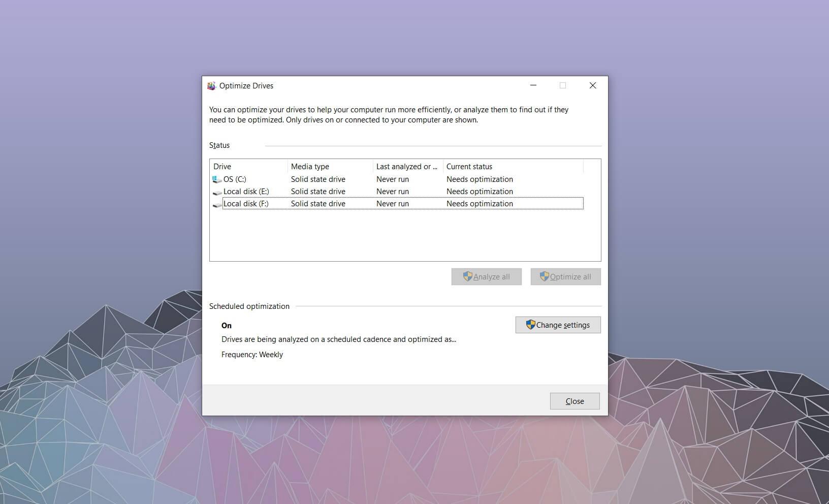 Windows 10 Optimize Drives