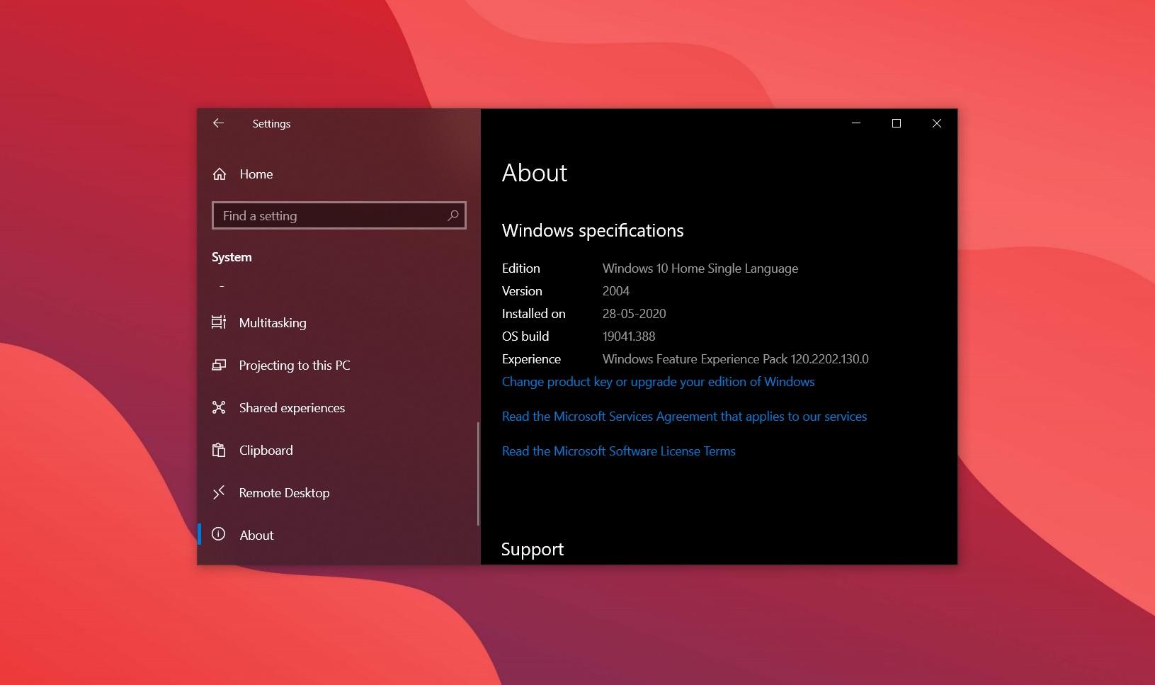 Windows 10 version 2004 upgrade