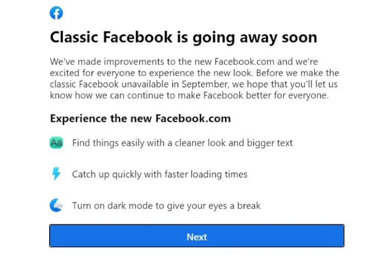 Facebook's Classic UI Is Getting Discontinued This September