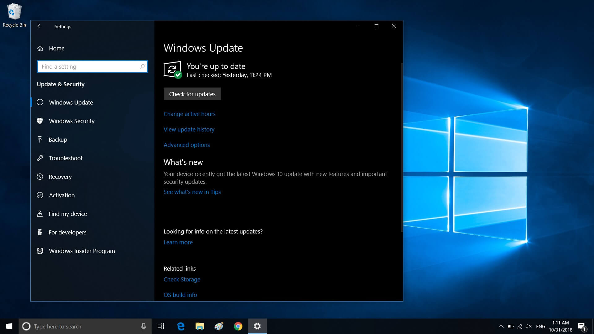 Windows 10 update check