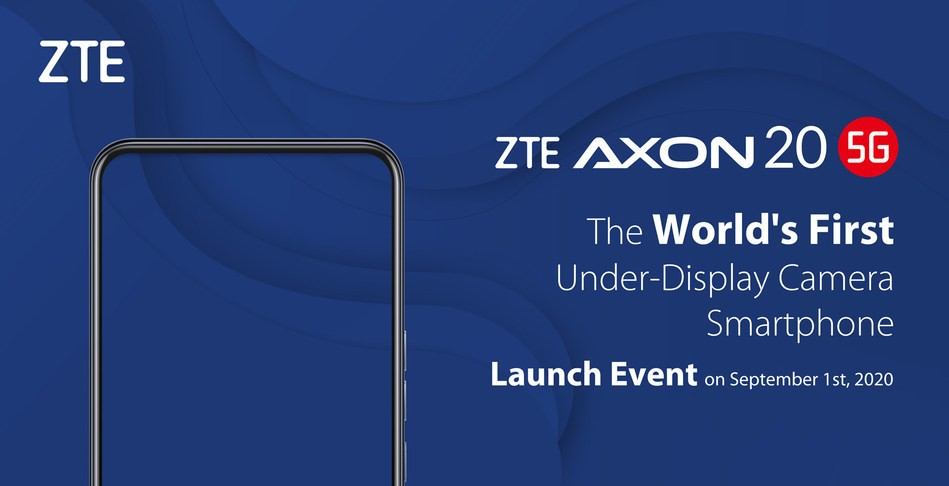 ZTE Axon 20 5G with under-display camera tech launching on September 1