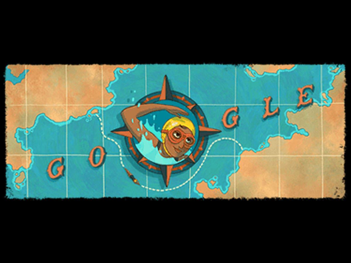 google doodle: Google Doodle remembering Aarti Saha, great female swimmer on English channel - google doodle celebrating 80th birthday of swimmer arati saha