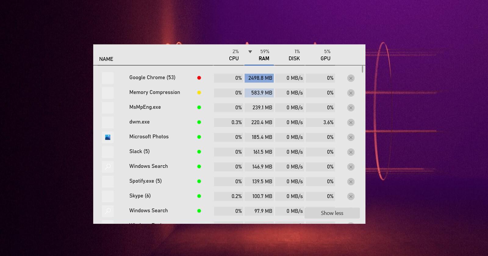 Windows 10 resources monitor widget