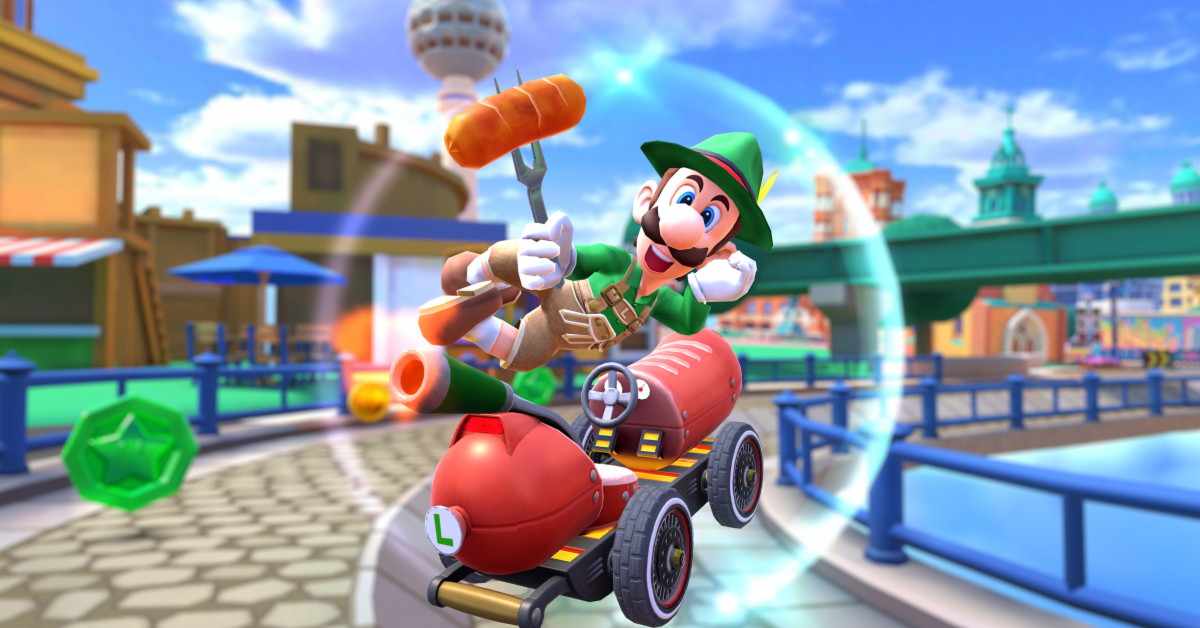Mario Kart Tour adds Lederhosen Luigi riding a hot dog